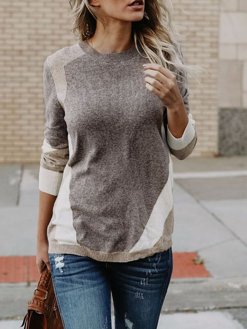 Paneled Knitted Casual Sweater