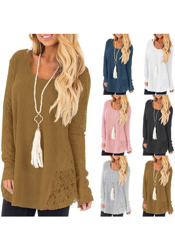 Top - Round Neck Long Sleeve Solid Sweet Women Top