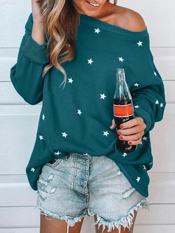 Plus Size Long Sleeve Crew Neck Printed Star Casual T-Shirts