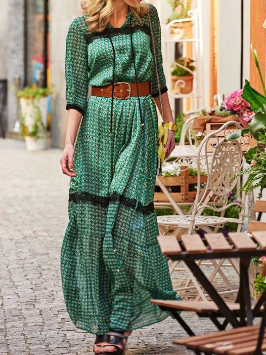 Mostata Boho Green V neck Long Sleeve Shift Dresses For Women