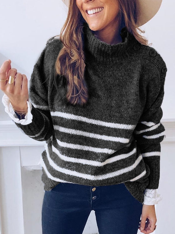 Mostata Plus Size Casual Knitted Turtleneck Long Sleeve Sweaters For Women
