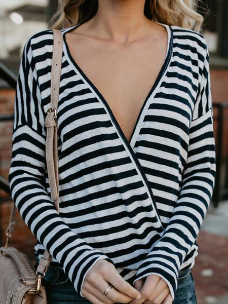 Women V-Neck Long Sleeve Striped T-Shirt