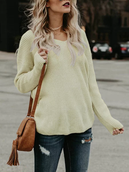 Casual Knitted Long Sleeve Backless Knitwear