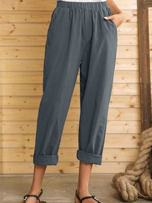Gray Casual Pockets Cotton-Blend Pants