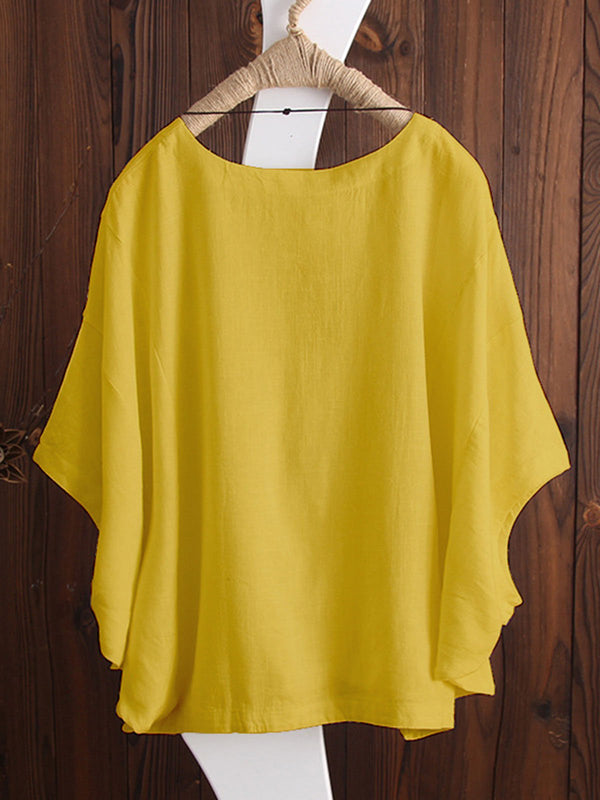 Plus Size Casual Shift Batwing Crew Neck Blouse