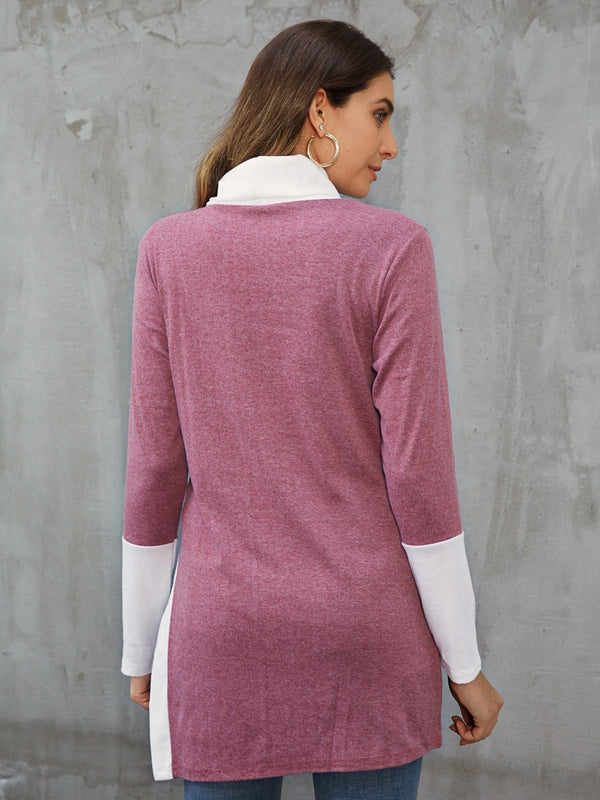 Burgundy Casual Shift Buttoned Solid Sweatshirt