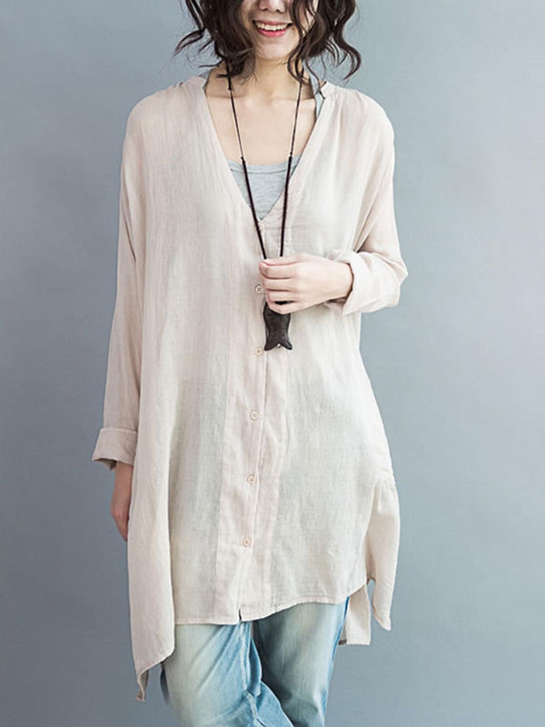 Cotton Linen Shirt Tops Ladies V Neck Long Sleeve Loose Casual Blouse Oversized