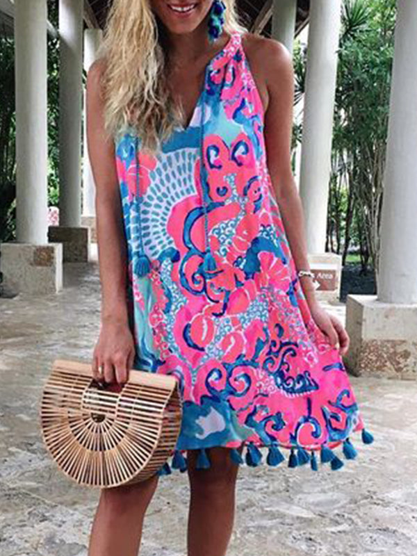Mostata Boho Printed Casual Sleeveless Patchwork Dresses