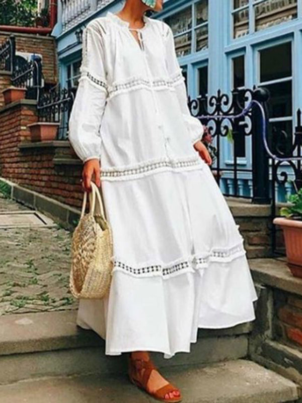 V neck Women Daily Long Sleeve Solid Spring Dress