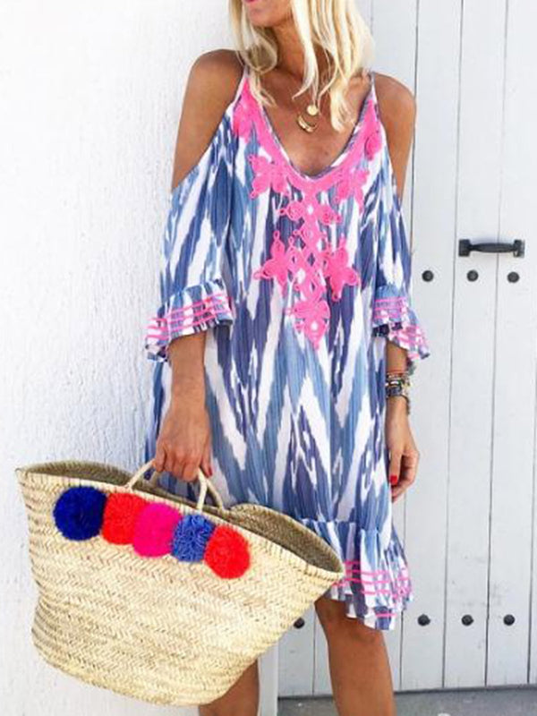 Mostata Floral Printed V Neck Boho Vacation Dresses