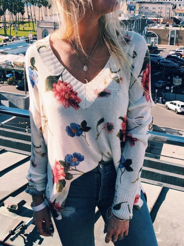 Women Casual Tops Tunic Flower Sweater