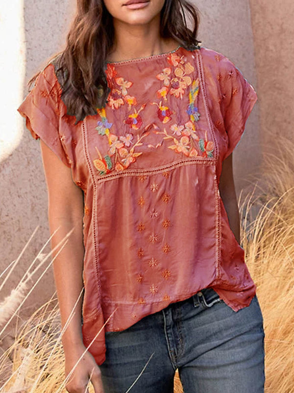 Mostata Plus Size Embroidery T-Shirts Mexican clothing Short Sleeve Boho Tops