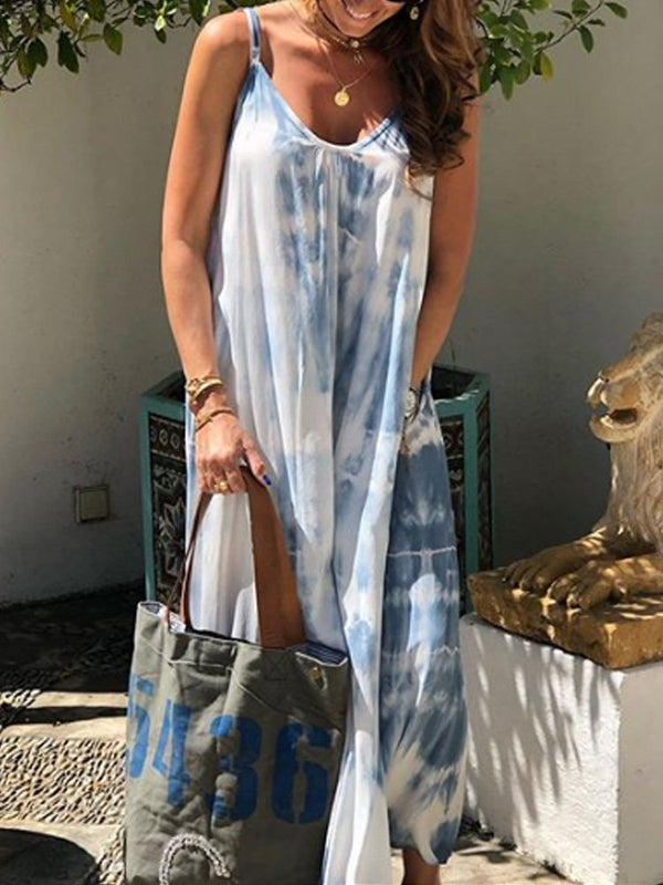 Gray Blue Sleeveless Big Hem Dress Dresses