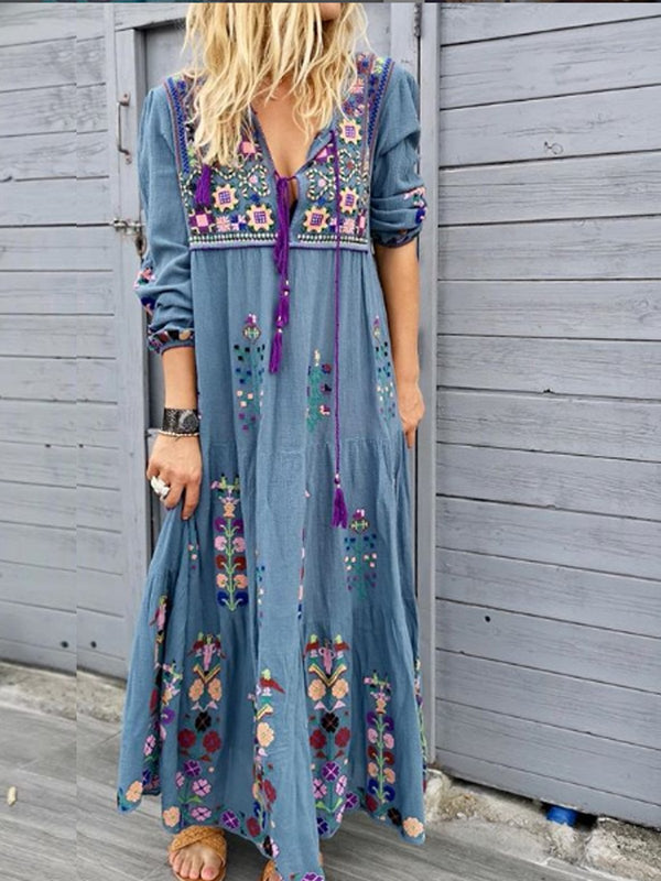 Mostata Blue Long Sleeve Cotton-Blend Patchwork Boho V Neck Women Dresses