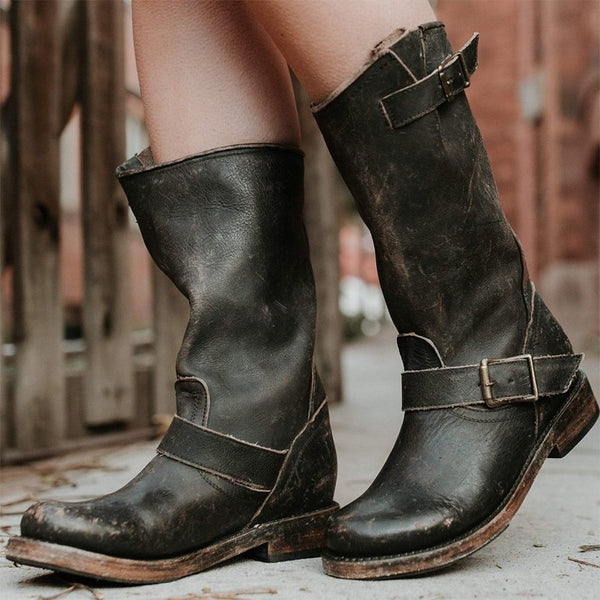 Women's Casual Adjustable Buckle Boots