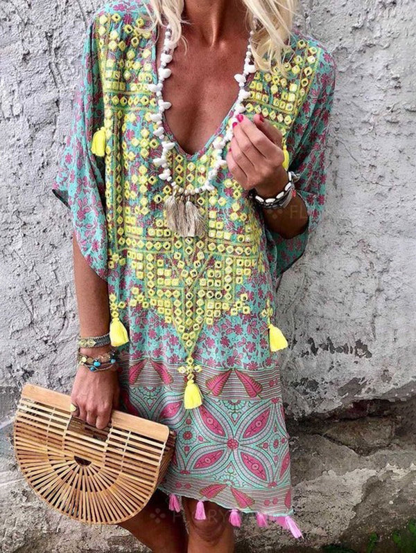 Mostata Boho V-Neck Printed Casual Summer Shift Women Green Dresses