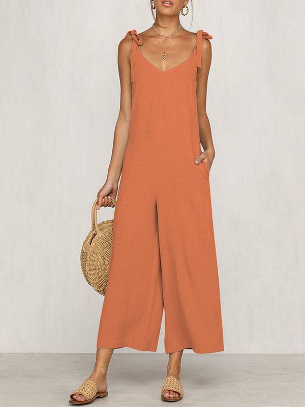 Beach Holiday Zipper Cotton Solid Sexy Jumpsuits