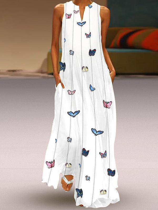 Mostata Butterfly Printed Round V-Neck Maxi Shift Dress