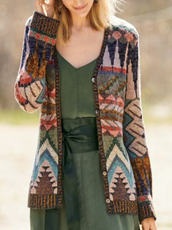 Brown Printed Holiday Long Sleeve Outerwear