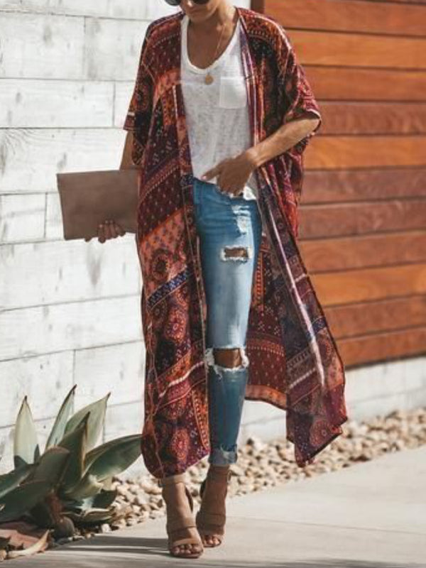 Red Printed Half Sleeve Outerwear