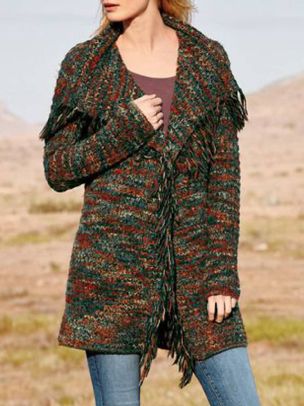 Green Shawl Collar Long Sleeve Knitted Outerwear