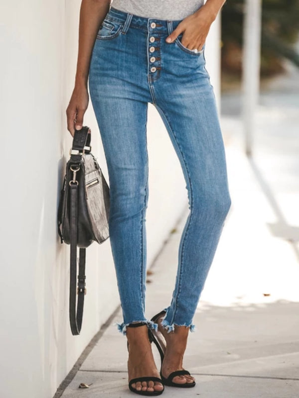 Blue Casual Denim Buttoned Pants