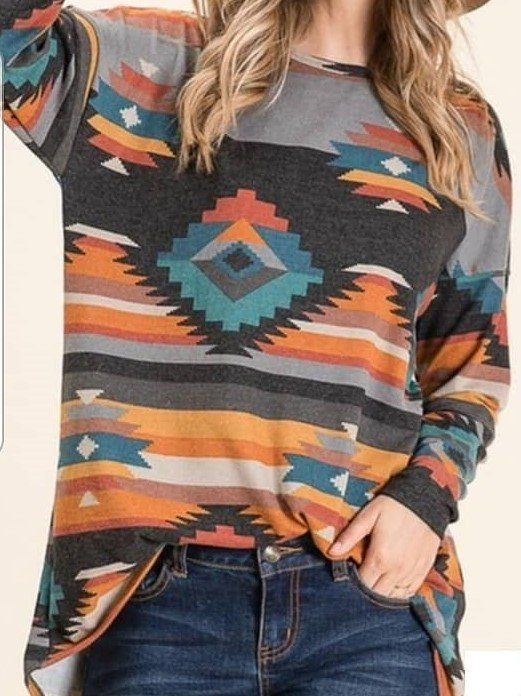 Mostata Women's Plus Size Boho Geometric Printed T-Shirts
