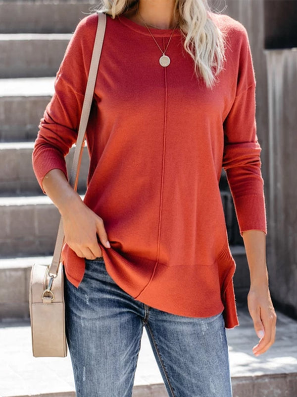 Orange Casual Long Sleeve plus size Sweater