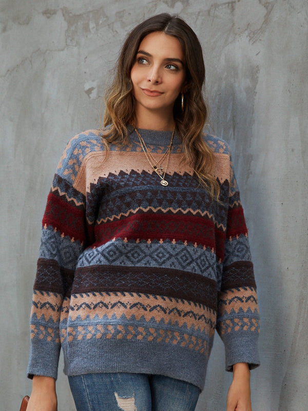 Gray Long Sleeve Tribal Sweater