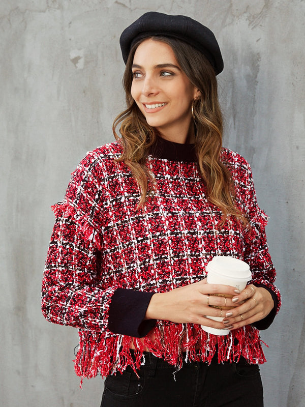 Red Checkered/plaid Casual Shift Shirts & Tops