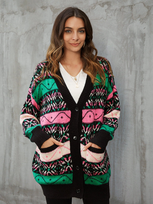 Black Acrylic Shift Casual Tribal Outerwear