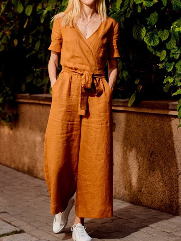 Mostata Short Sleeve Casual Plain Jumpsuits
