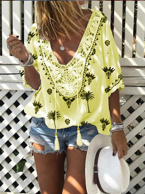 Mostata V Neck Half Sleeve Printed Holiday Bohomia Blouse