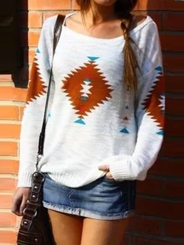 Mostata Women's White Round Neck Long Sleeve Color-Block Patchwork Sweatershirt