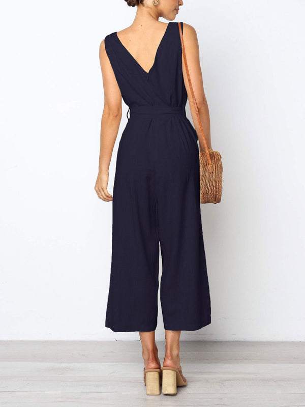 Casual Solid V Neck Jumpsuits With Belt