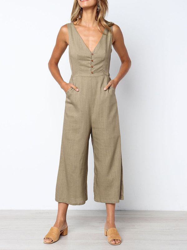 Sping/Summer Sexy V-neck Button Slim Sleeveless Casual Jumpsuit