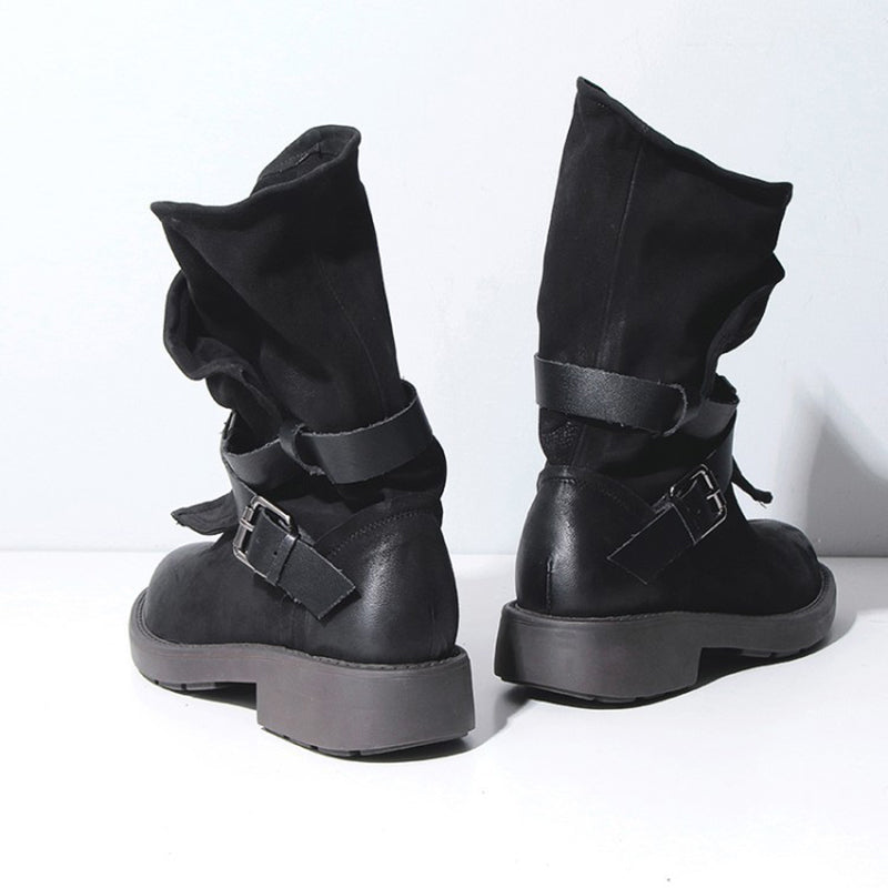 Plus Size Adjustable Buckle Mid-Calf Women Motorcycle Boots