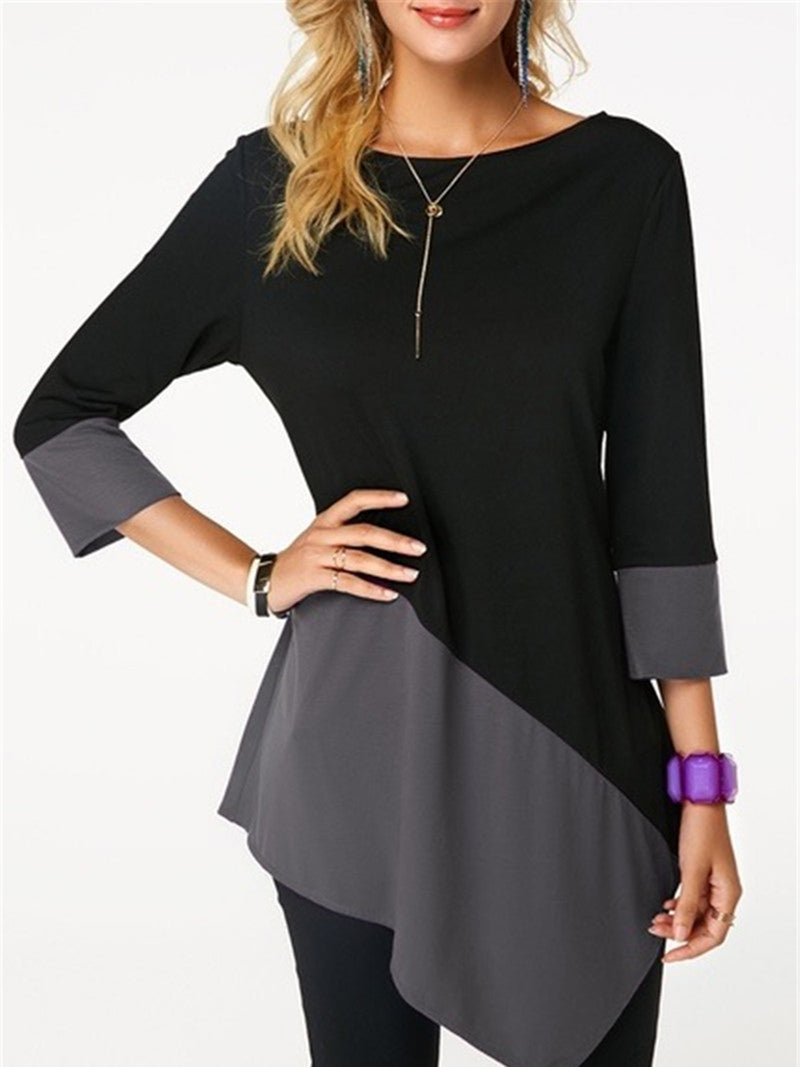Asymmetric Round Neck Solid Basic Prime T-Shirts
