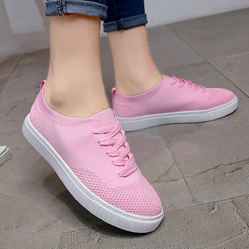 Women Flyknit Fabric Sneakers Casual Comfort Slip On Breathable Shoes