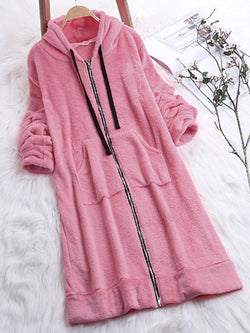 Long Sleeve Zipper Plush Solid Color Hoodie Cardigan Teddy Bear Coat