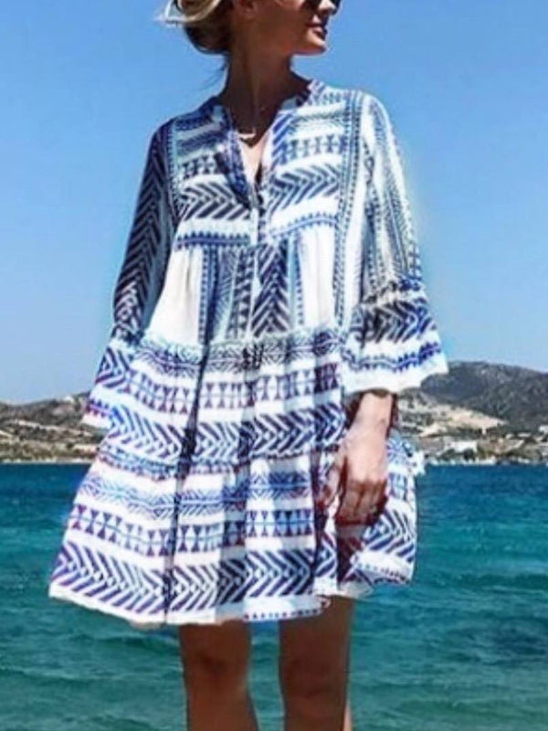 Mostata boho Dresses V Neck Casual Printed Tribal Summer Dress