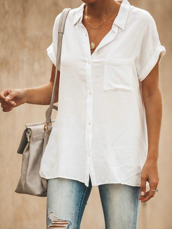 Mostata Relaxed Fit Collared Short Sleeves Button Top Shirt Blouse