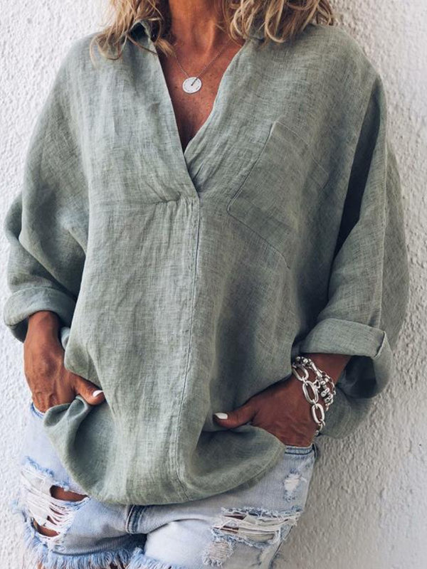 Mostata Plus Size Casual Linen V Neck Long Sleeve Blouses