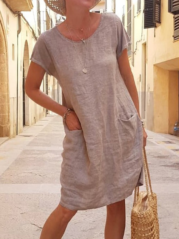 Cotton Plus size solid loose Dress