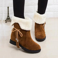 New Style Winter Women Bowknot Warm Mid-Calf Boots