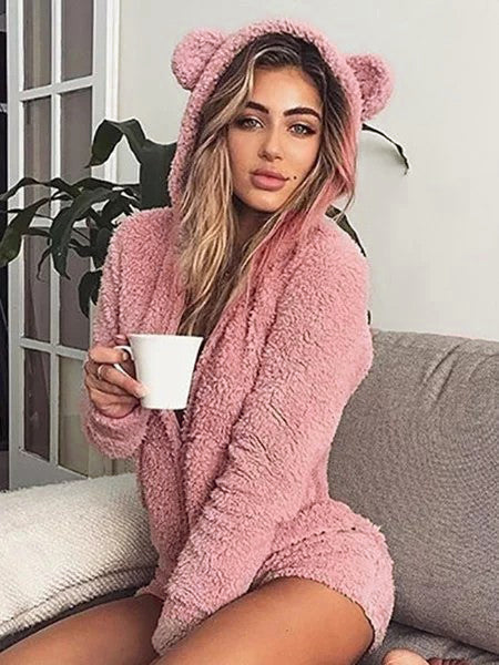 Winter Hoodie Zipper Comfort Fleece Rompers