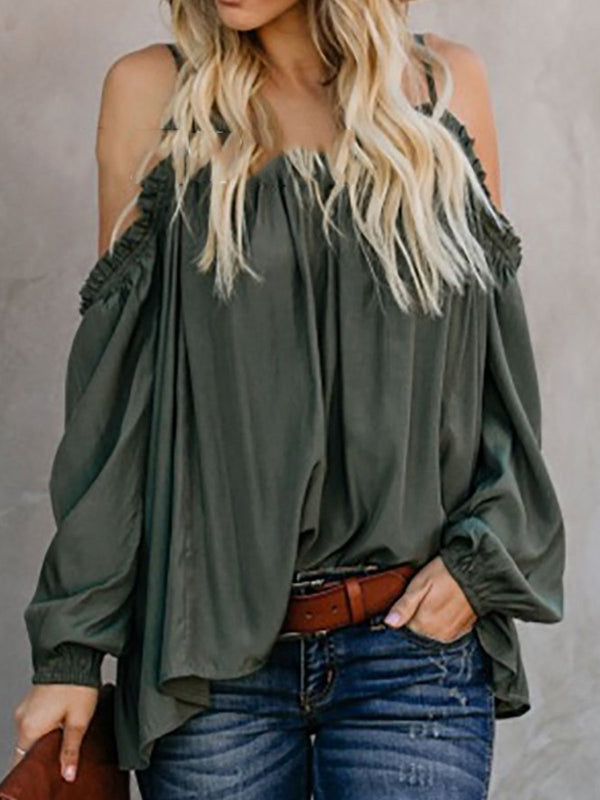 Cold Shoulder Solid Spaghetti Gathered Elegant Blouses