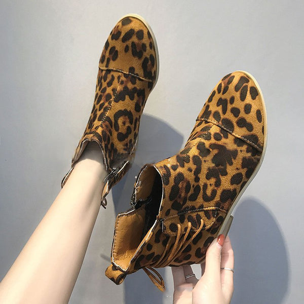 Women Causal Leopard Lace Up Booties Zipper Shoes