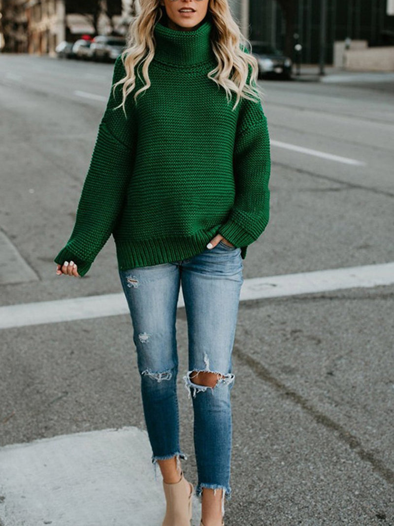 Solid Casual Knitted Turtle Neck Sweater