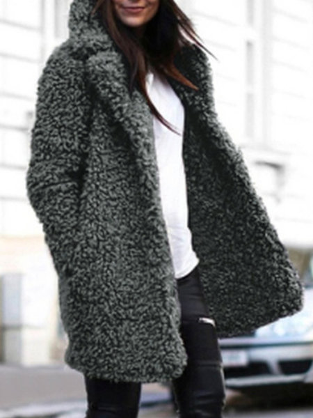 Faux Fur Plain Women's Winter Warmest Sherpa Coat